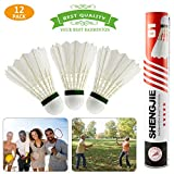 Buluri 12-pack Badminton Shuttlecock, Natural Goose Feather High Speed Badminton Balls with Great Elasticity and Durability for Indoor,Outdoor,Sports,Training,Exercise,Entertainment,Games