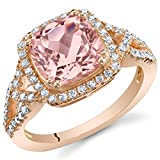 Peora Simulated Morganite Rose-Tone Sterling Silver Cushion Halo Ring