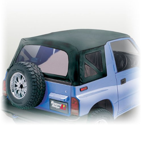 Rugged Ridge 53702.15 Soft Top Replacement With Clear Windows BLACK DENIM For 1988-94 Geo Tracker & Suzuki Sidekick