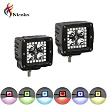 """Nicoko 3"""" Led work lights RGB color changing led cubes/pods with halo 1X pair"""