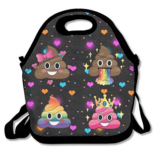 - Rainbow Poop Face Emoji Heart Shapes Black Lunch Handbag Lunchbox Tote Bags Insulated Cooler Warm Pouch With Shoulder Strap For Women Girls Kids Adults Teens by Unoopler