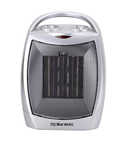Silver Portable Mini - Warmtec 1500W Ceramic Space Heater with Carry Handle Adjustable Thermostat Electric Desk Heater Fan (Silver)