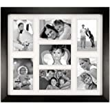 "Malden International Designs Berkeley Matted Black Wood 7-Opening 4 x 6"" Collage Picture Frame"