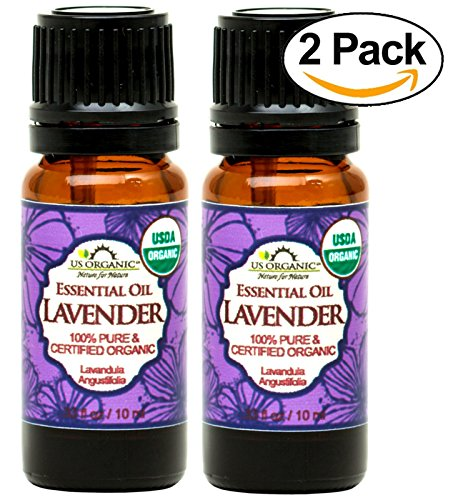 US Organic 100% Pure Lavender Essential Oil (Bulgarian) - USDA Certified Organic - 10 ml Pack of 2 - w/Improved caps and droppers (More Size Variations Available)