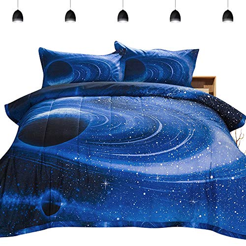 PomCo Galaxy Comforter Twin (68×88 Inch), 2Pcs(1 Galaxy Comforter & 1 Pillowcases) 3D Space Outer Sky Microfiber Bedding Set, Blue Universe Galaxy Comforter Set for Boy Girl Teen Kid