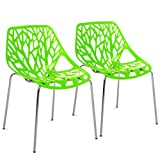 Best Choice Products Set of 2 Mid-Century Modern Eames Style Stenciled Dining Side Chairs w/Chrome-Plated Legs (Green)
