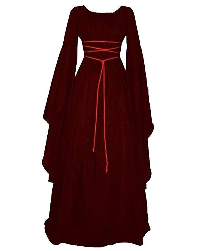 Liangzhu Mujer Mangas Largas Cuello Redondo Vestido Medieval De Señora Largo Vestido Renacimiento Gótico Vestido: Amazon.es: Ropa y accesorios