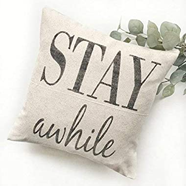 alerie Sassoon Stay Awhile Rustic Pillow Cover Farmhouse Pillow