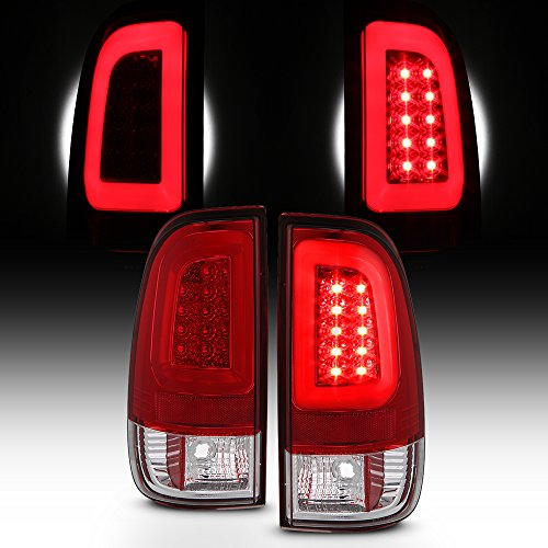 (For 08-16 Ford F250 F350 F450 F550 SuperDuty LED Tube Red Tail Brake Lamps Left Driver+Right Passenger)