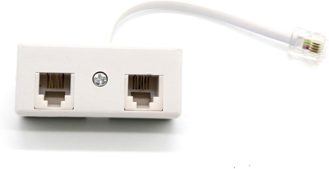 2-Way RJ11 Telephone Plug to RJ11 Socket Adapter and Splitter for Landline Telephone