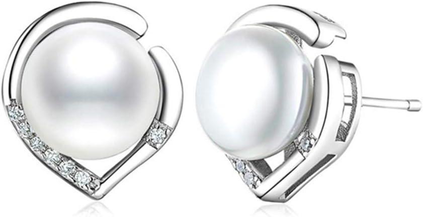 Cestbon Pendientes de la Perla de Las señoras de Ley 925 aretes de Plata Pendientes de Perlas de Agua Dulce de la joyería, el lenguaje del corazón Regalo de San Valentín,Blanco