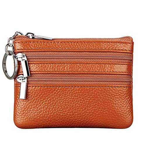 (Women's Genuine Leather Coin Purse Mini Pouch Change Wallet with Key Ring,brown)