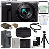 Panasonic Lumix DMC-ZS60 Digital Camera (Silver) + 32GB + Rechargable Li-Ion Battery + Small Carrying Case + Charger + HDMI Cable + Card Reader + Small Tripod Bundle