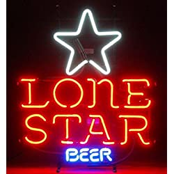 "Lone Star Neon Sign 17""X14"" Inches Bright Neon Light Display Mancave Beer Bar Pub Garage"