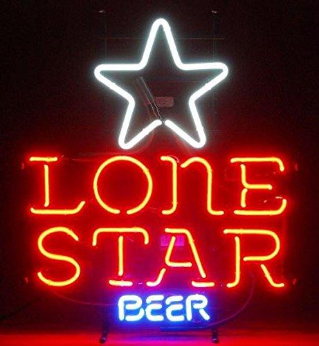 "Lone Star Neon Sign 17""X14"" Inches Bright Neon Light Display Mancave Beer Bar Pub Garage"