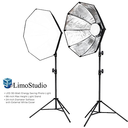 LimoStudio Photo Studio Kit 2 Sets of LED Photo Light and 24 Inch Diameter Octangle Softbox and 86 Inch Max Height Light Stand Tripod, Continuous Light Kit, Photography Studio, AGG2021 by LimoStudio
