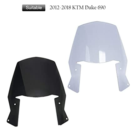 FATExpress Motorcycle Windshield Windscreen Wind Shield Screen Protector  Cover for 2012-2018 KTM Duke Enduro R 690 2013 2014 2015 2016 2017 12-18