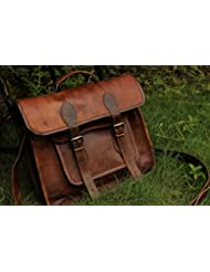 HLC 14 Leather Messenger Bags for Men and Women Laptop Briefcase with Two Pocket Front Shoulder Cum Crossbody...