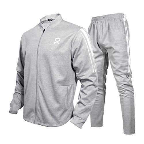 (Rambler Men's Tracksuit 2 Piece Jacket & Pants Jogging Athletic Suit Casual Full ZipSweatsuit(L) Grey)