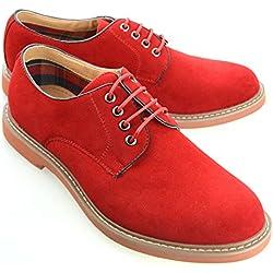 O-NINE Mens Casual Shoes Oxford Shoes Dress Shoes Drving Shoes Fashion Lace Up Shoes Red 41 EU (US Men's 8.5 M)