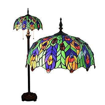16 Pulgadas Europeos Creativa Vintage Mediterráneo Cian Pavo Real Plumas Lámpara De Pie Para Sala De Estar Dormitorio