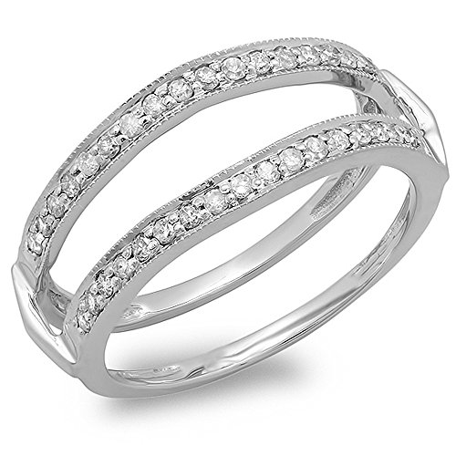 Dazzlingrock Collection 0.33 Carat (ctw) 14K Round Diamond Wedding Band Double Guard Ring 1/3 CT, White Gold, Size 8