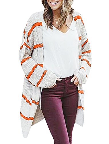 - Hestenve Womens Stripe Knit Cardigan Sweater Spring Slouchy Jumper Coat with Pocket Orange
