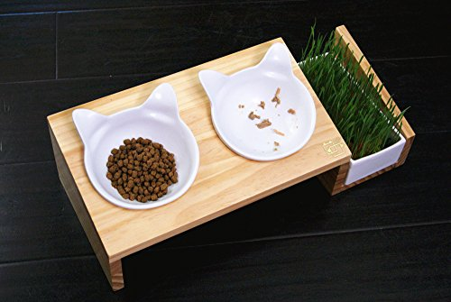 ViviPet-Cat-Dining-Table-15-Tilted-Platform-Pet-Feeder-Solid-Pine-Stand-with-Ceramic-Bowls-Elevated-Cat-Feeder-Raised-Cat-Bowl-Mykonos-Collection