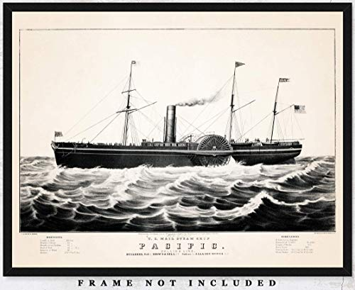 Vintage The Pacific US Mail Steam Ship Wall Art Print: Unique Room Decor for Boys, Girls, Men & Women - (11x14) Unframed Pictures - Great Gift Idea Under $15