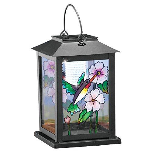 Collections Etc Solar Hummingbird Lantern, Black