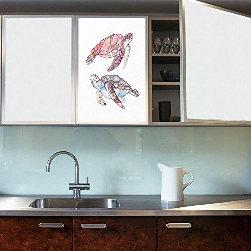 YOLIYANA Privacy Window Film Decorative,Turtle,for Glass Non-Adhesive,Hand Painted Watercolor Artwork of Two Turtles Pastel,24''x36'' - Nfl Hand Painted Art Glass