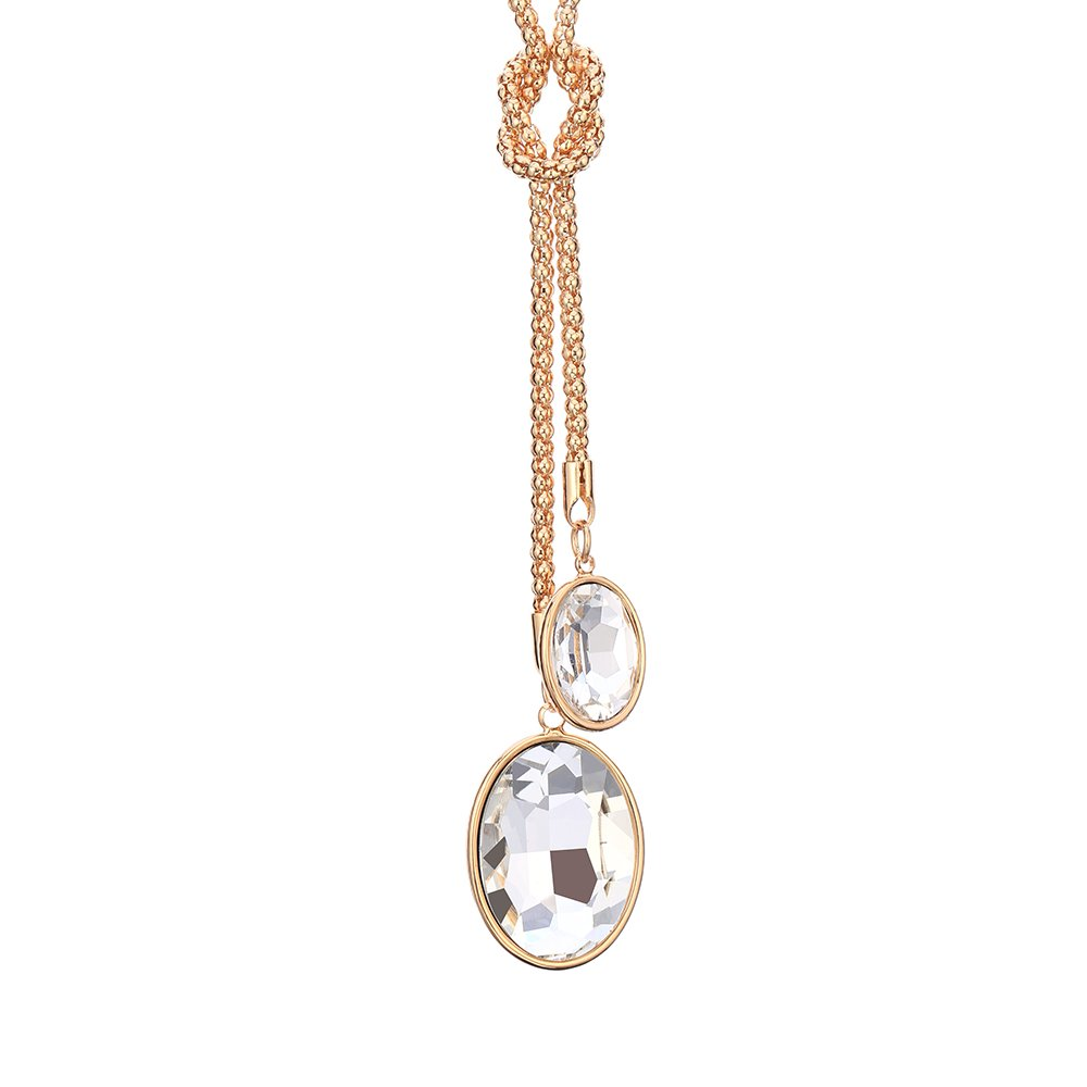 Long Necklace for Women,Crystal Pendant Necklace Girls Gold Silver Byzantine Chain Necklace CZ Crystal Ouran Jewelry XL07778D