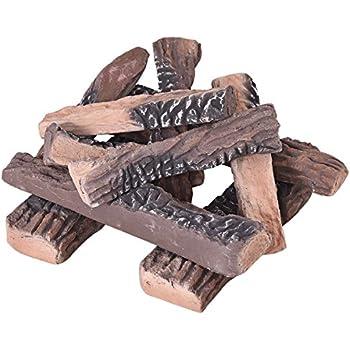 Amazon Com Goplus Ceramic Wood Gas Fireplace Log Set For