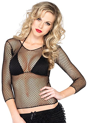 Leg Avenue Women's Lycra Industrial Fishnet Long Sleeves T-Shirt, Black, One Size