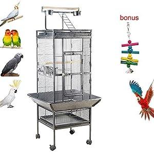 IKAYAA Jaula de Metal para Pájaro Negro Mascotas 47.5 * 48 * 152 cm / 18.7 * 18.9 * 59.8in, Cantidad1 PC con 4 comederos…