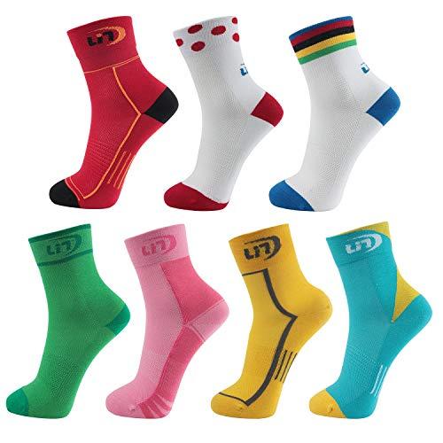 Lin 7 Pack Cycling Socks for Men and Women Funny Color Biking Socks Performance Athletic Ankle - Bike Socks