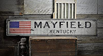 MAYFIELD, KENTUCKY - Rustic Hand-Made Vintage Wooden Sign - US Flag