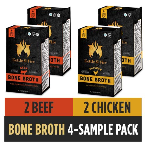 Kettle and Fire Bone Broth Soup Beef and Chicken Variety pack, Pack of 4, Keto Diet, Paleo Friendly, Whole 30 Approved, Gluten Free, with Collagen, 7g of protein, 16.2 fl oz