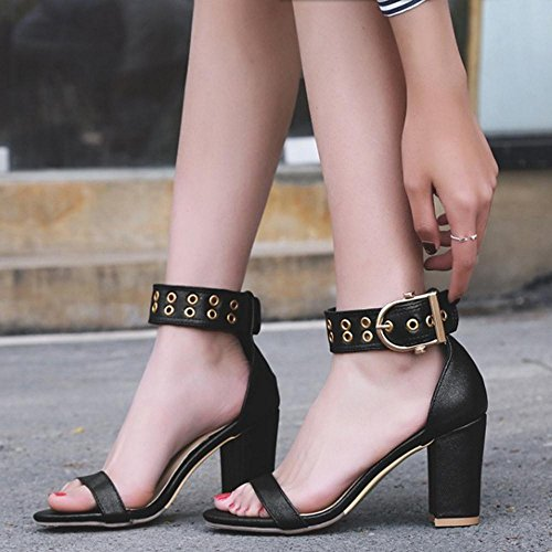 Caviglia Sandali 2 TAOFFEN Vestito Fibbia alla con Nero Donna xAgE1wq8EI