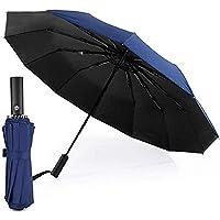 Auto Open/Close Folding Travel Umbrella, Compact Lightweight Umbrella, Fast Drying, Reinforced Windproof Canopy Frame…