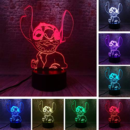 Amroe New Novelty Cartoon Cute Stitch Lovely Happy Figures 7 Color Change USB Touch and Remote Comreol Night Light Boys Bedroom Bedside Decor Child Kids Friend Xmas Birthday Toys Gifts (Happy Stitch)