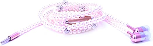 Bettal Luxury Pearl Necklace Chain Earphone Stereo Hi-Fi Wired Headphone for Smartphone Pink