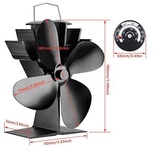 Sonyabecca Heat Powered Stove Fan with Magnetic Thermometer 4 Blade Wood Stove Fans Aluminium Silent Eco-Friendly for Wood Log Burner Fireplace by Sonyabecca (Image #3)