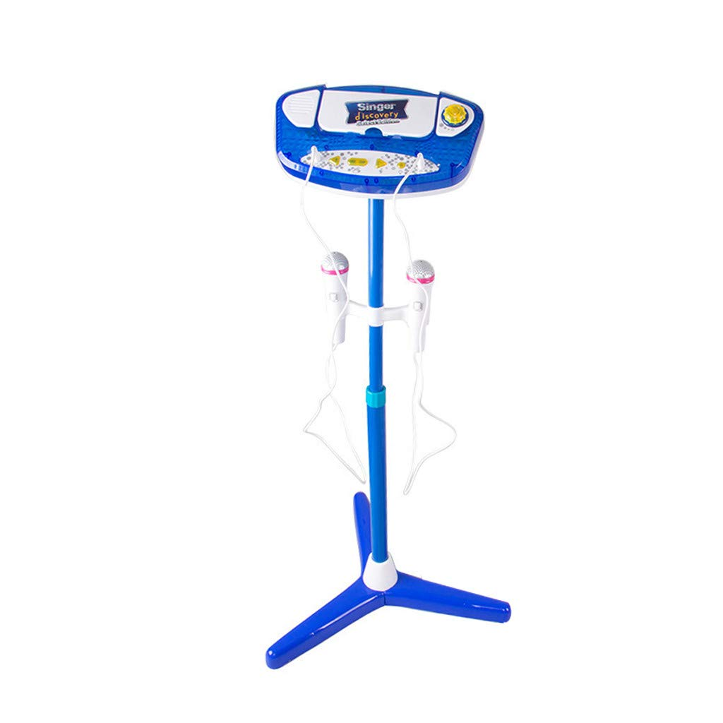 Aobiny Kids Karaoke Machine with 2 Microphones Adjustable Stand Music Play Toys Set for Fun Musical Effects (Blue) by Aobiny (Image #1)