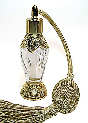 Alice-Aliya Antique refillable Perfume Atomizer Empty Bottle with Gold Squeeze Bulb and Tassel Spray mounting.
