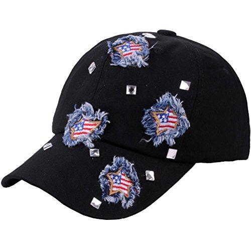 (CRUOXIBB Black Baseball Cap USA Flag Denim Jean Cowboy Hat Rhinestone Snapback Men Women (Black Cap))