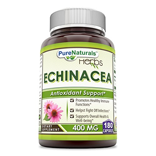Pure Naturals Echinacea Supplement, 400mg Capsules - Made from Pure Echinacea Purpurea Root and Plant Extract Powder - Promotes Healthy Immune Function & Helps Fight Off Infections (180 Count)