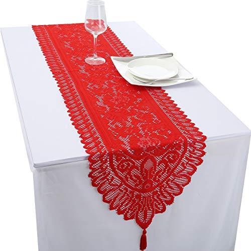 rockcloud - Camino de Mesa de Encaje para Banquetes de Boda, decoración de Navidad, decoración de Mesa, Rojo, 13 x 59, 1
