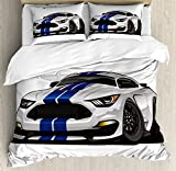 Lunarable Boy's Room Duvet Cover Set Queen Size by, Modern American Muscle Race Rally Car in Stylish Fancy Drive Formula Print, Decorative 3 Piece Bedding Set with 2 Pillow Shams, Grey Black Blue