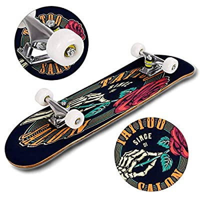 Classic Concave Skateboard Tattoo Studio Colorful Round Print with Skeleton Hand Holding Blooming Longboard Maple Deck Extreme Sports and Outdoors Double Kick Trick for Beginners and Professionals : Sports & Outdoors
